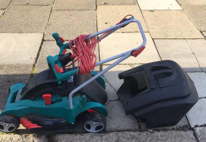 leaving an electric lawn mower outside