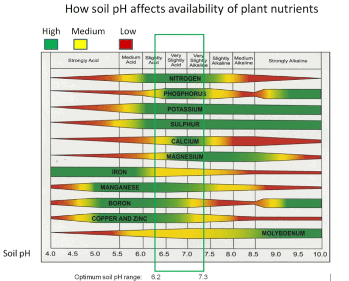ph of soil in the ground and elements